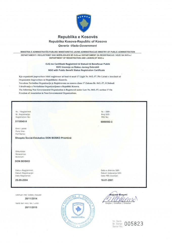 Certifikata e regjistrimit te ojq-se
